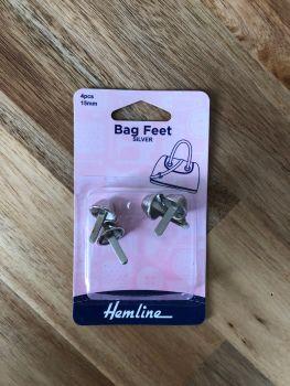 Hemline 15mm Steel Bag Feet - Silver x 4