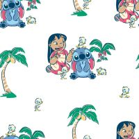 Disney Fabric - Lilo and Stitch - Friends White - 100% Cotton - 1/4m+