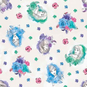 Disney Fabric - Watercolour Princess - Off White - 100% Cotton - 1/4m+