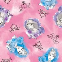 Disney Fabric - Princess Toss - Pink - 100% Cotton - 1/4m+