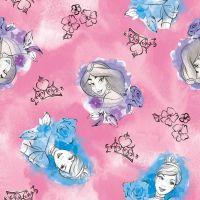 Disney Fabric - Princess Toss - Pink - 100% Cotton - 1/4m+