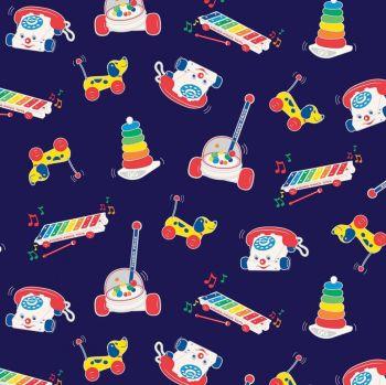 Riley Blake Fabric - Fisher Price Toys - Navy - 100% Cotton - 1/4m+