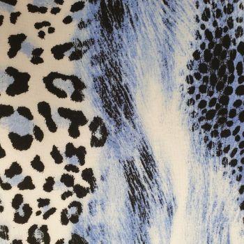 Viscose Fabric - Leopard Print - Blue - 100% Viscose - Half Metre