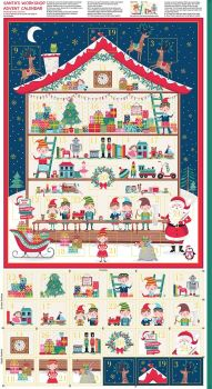 Makower Fabric - Christmas Santas Workshop Advent Calendar Panel - 100% Cotton