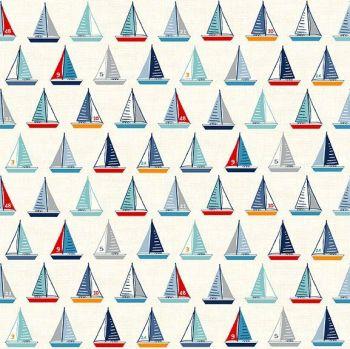 Makower Fabric - Sail Away - Yachts - Cream - 100% Cotton - 1/4m+