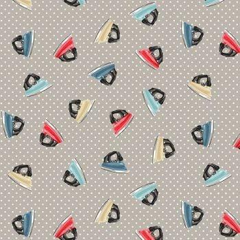 Makower Fabric - Stitch in Time - Irons - Grey - 100% Cotton - 1/4m+