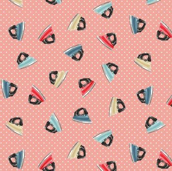 Makower Fabric - Stitch in Time - Irons - Pink - 100% Cotton - 1/4m+