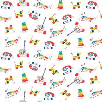 Riley Blake Fabric - Fisher Price Toys - White - 100% Cotton - 1/4m+