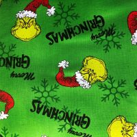 Dr Seuss Fabric - How The Grinch Stole Xmas - Merry Grinchmas - Green - 100% Cotton - 1/4m+