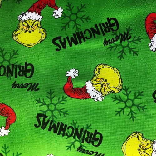 Dr Seuss Fabric - How The Grinch Stole Xmas - Merry Grinchmas - Green - 100