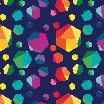 Riley Blake Fabric - Create Geo Gems - Navy - 100% Cotton - 1/4m+
