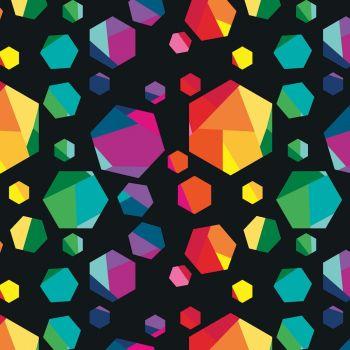 Riley Blake Fabric - Create Geo Gems - Black - 100% Cotton - 1/4m+