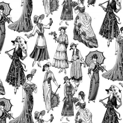 Nutex Fabric - Victorian Ladies - 100% Cotton - 1/4m+