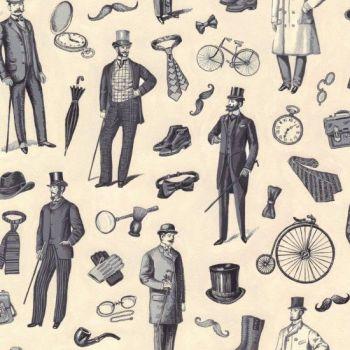 Nutex Fabric - Victorian Vintage Men - 100% Cotton - 1/4m+