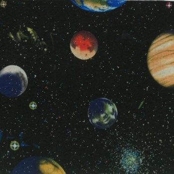 Nutex Fabric - Solar System Glitter - Planet Panel 60cm - 100% Cotton