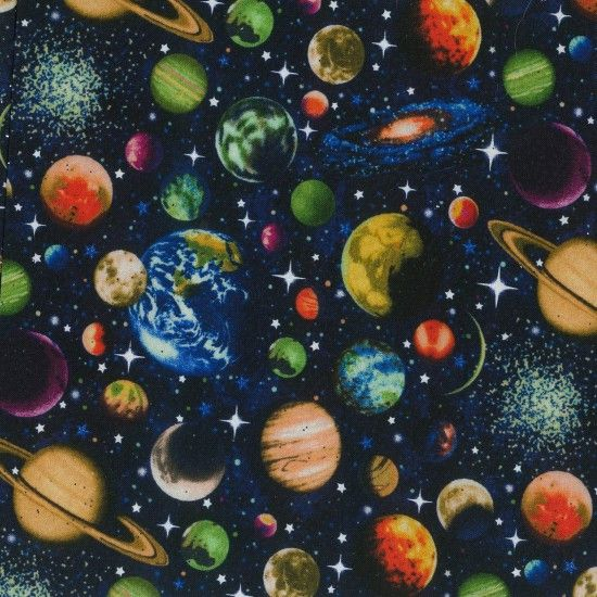Nutex Fabric - Solar System Glitter - Scattered Planets - 100% Cotton - 1/4