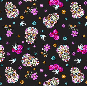 David Textiles Fabric - Folkloric Skulls - Day of the Dead - Black Glitter - 100% Cotton - 1/4m+