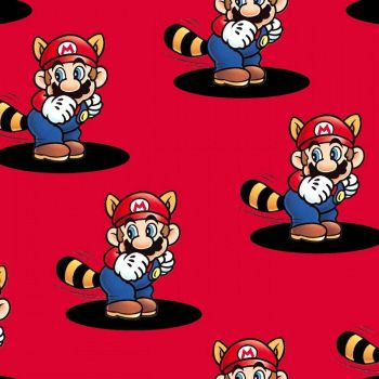 Nintendo Fabric - Super Mario World - Mario Pop Up - Red - 100% Cotton  - 1/4m+