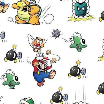 Nintendo Fabric - Super Mario World - Marios in Trouble - 100% Cotton  - 1/4m+