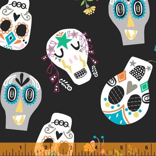 Windham Fabric - Fiesta Sugar Skulls - Black - 100% Cotton - 1/4m+