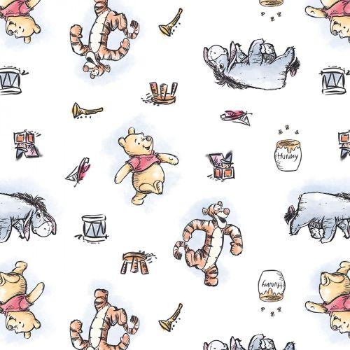 Disney Fabric - Winnie the Pooh - Pooh & Friends - White - 100% Cotton