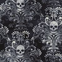 Timeless Treasures Fabric - Wicked - Skull Damask - Charcoal - 100% Cotton - 1/4m+