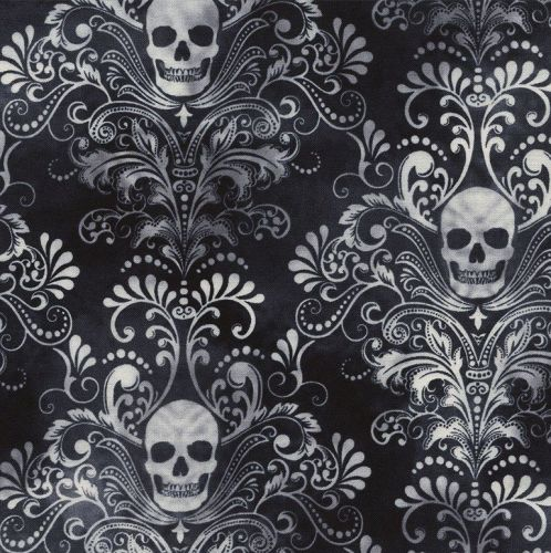 Timeless Treasures Fabric - Wicked - Skull Damask - Black - 100% Cotton - 1