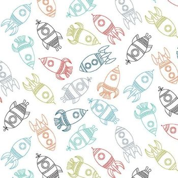 Makower Fabric - Outer Space - Rockets - White - 100% Cotton - 1/4m+
