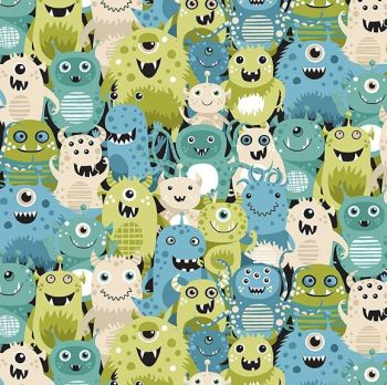Makower Fabric - Outer Space - Aliens - Green - 100% Cotton - 1/4m+