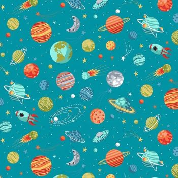 Makower Fabric - Outer Space - Planets - Blue - 100% Cotton - 1/4m+