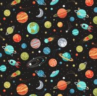 Makower Fabric - Outer Space - Planets - Black - 100% Cotton - 1/4m+