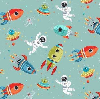 Makower Fabric - Outer Space - Space Scene - Turquoise - 100% Cotton - 1/4m+