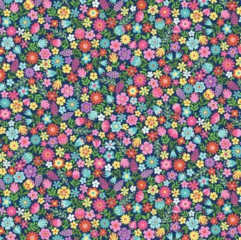 Makower Fabric - Daydream - Floral - Blue - 100% Cotton - 1/4m+