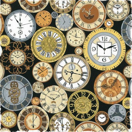 Nutex Fabric - Victorian Vintage Clocks - 100% Cotton - 1/4m+