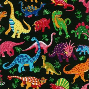 Nutex Fabric - Dinosaur Dance - Black - 100% Cotton - 1/4m+