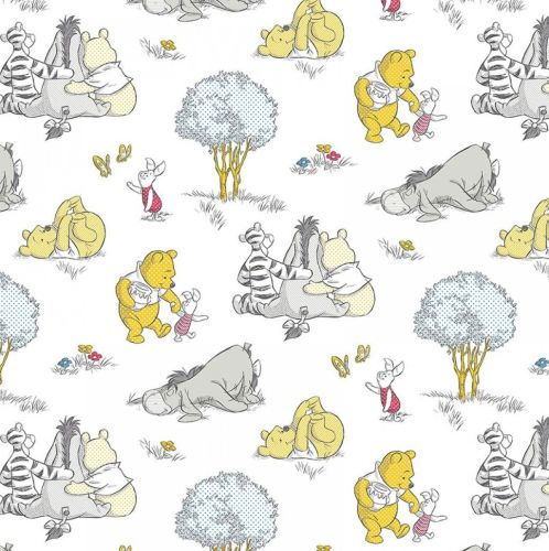 Disney Fabric - Winnie the Pooh - A Togetherish Sort of Day - White - 100%