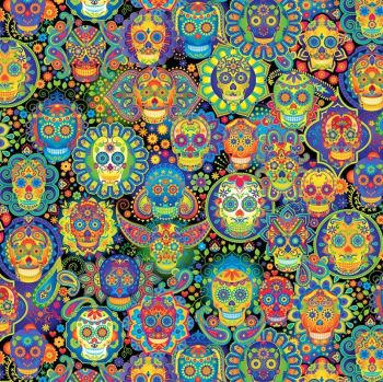 Timeless Treasures Fabric - Sugar Skulls - Bright - 100% Cotton - 1/4m+