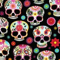 Timeless Treasures Fabric - Day of the Dead Skulls - Black - 100% Cotton - 1/4m+