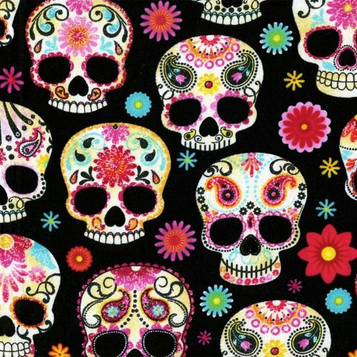 Timeless Treasures Fabric - Day of the Dead - Black - 100% Cotton - 1/4m+