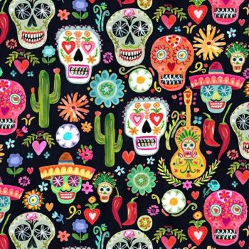 Dear Stella Fabric - Viva Mexico - Day of the Dead Skulls - 100% Cotton - 1/4m+