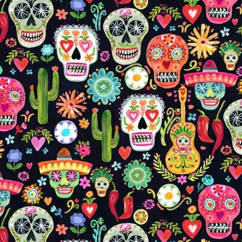 Dear Stella Fabric - Viva Mexico - Day of the Dead Skulls - 100% Cotton - 1
