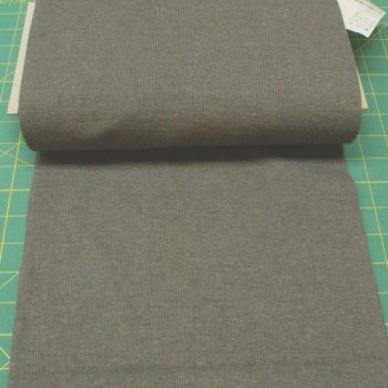 Stretch Ribbing/Collar/Cuff Fabric - Grey Marle HW - 60% Cotton, 35% Polyester, 5% Lycra Half Metre