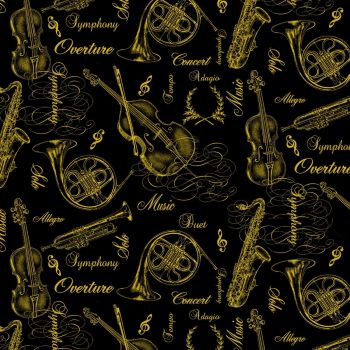 Timeless Treasures Fabric - Gold Metallic Musical Instruments - Black - 100% Cotton - 1/4m+