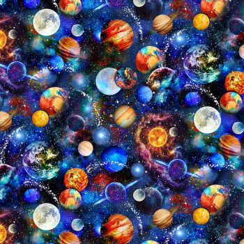 Timeless Treasures Fabric - Outer Space - Digital Planets - 100% Cotton - 1/4m+