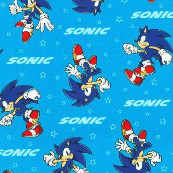 Sonic The Hedgehog Fabric - Sega - Blue - 100% Cotton - 1/4m+