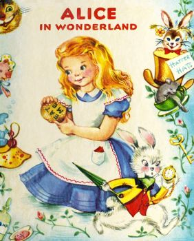 Alice in Wonderland Fabric - Vintage Storybook Panel - 100% Cotton