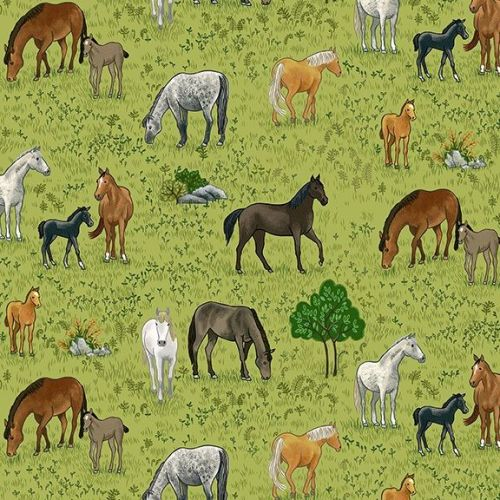 Makower Fabric - Village Life - Horses - Green - 100% Cotton - 1/4m+