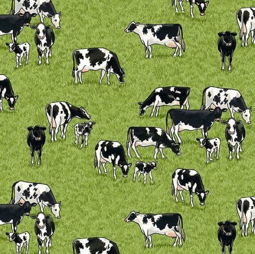 Makower Fabric - Village Life - Cows - Green - 100% Cotton - 1/4m+