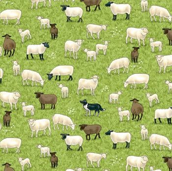 Makower Fabric - Village Life - Sheep - Green - 100% Cotton - 1/4m+