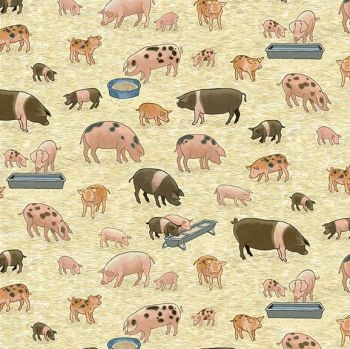 Makower Fabric - Village Life - Pigs - 100% Cotton - 1/4m+